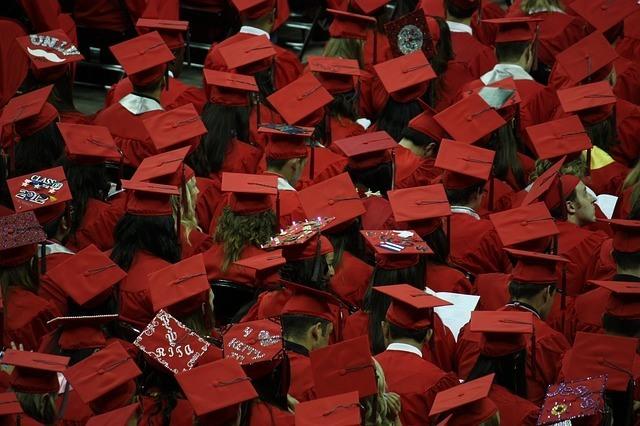 Red graduate caps