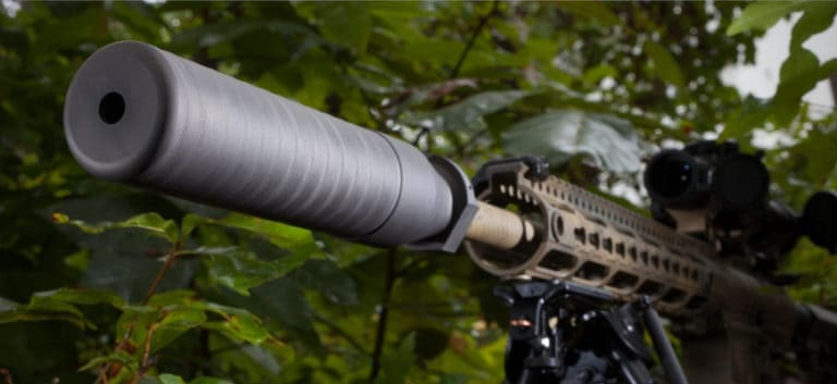 Best 300 Blackout Surpressors - Focus shot of gun silencer.