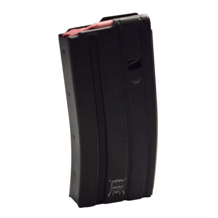 D&H AR-15 300 AAC Blackout 20 Round Magazine, Black w/ Red Follower - 300BLK-AL-20-BT-RD