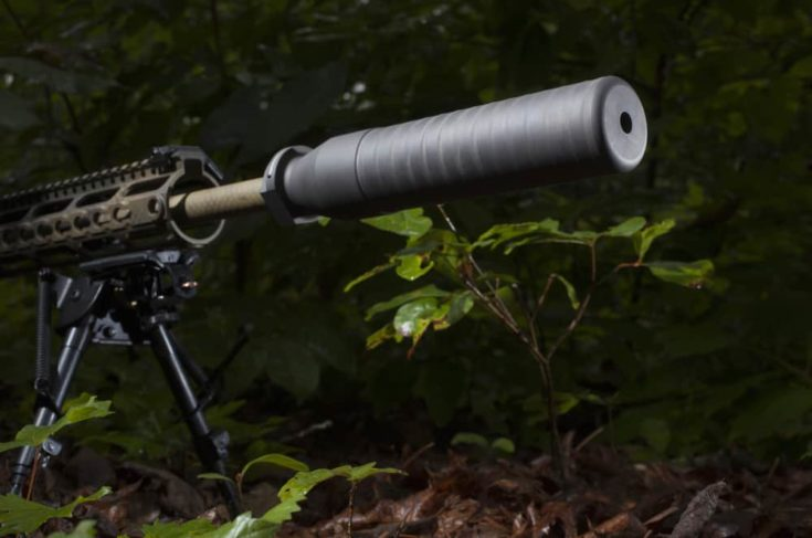 Semi automatic rifle in the bushes with a silencer attached