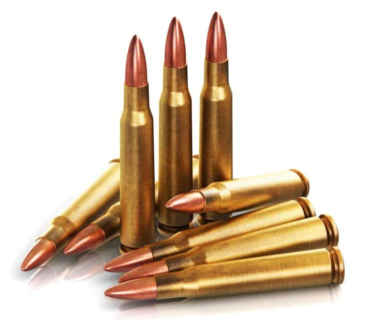 Creative abstract war and automatic machine gun shooting or firing military ammo concept: 3D render illustration of the group of metal brass cartridge shells with copper and lead bullets isolated on white background with reflection effect