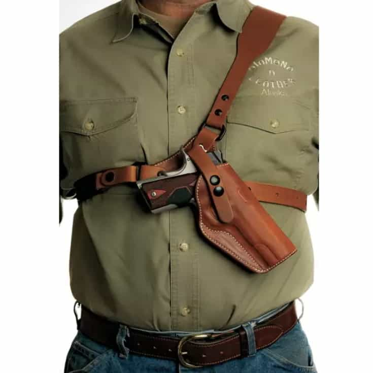 Diamond D Leather Guide's Choice Leather Chest Holster