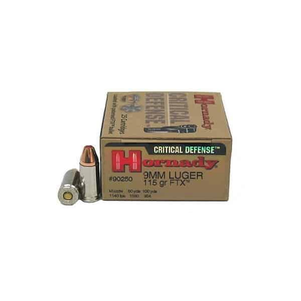 Hornady Critical Defense 9mm Luger 115 grain FTX Centerfire Pistol Ammunition 90250