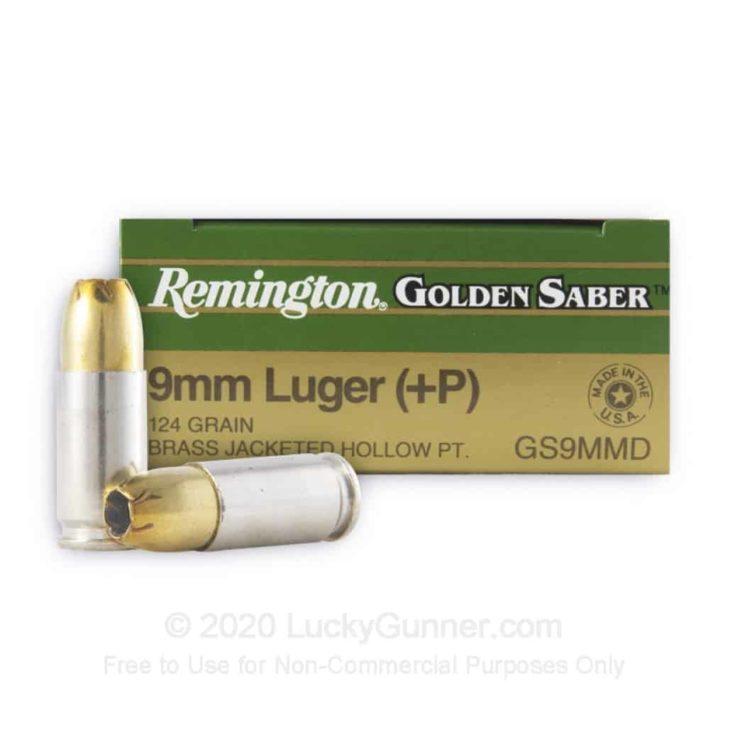 9mm +P - 124 gr JHP - Remington Golden Saber- 25 Rounds