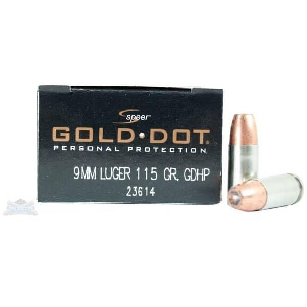 SPEER 9MM 115GR GOLD DOT AMMUNITION 20RDS - 23614