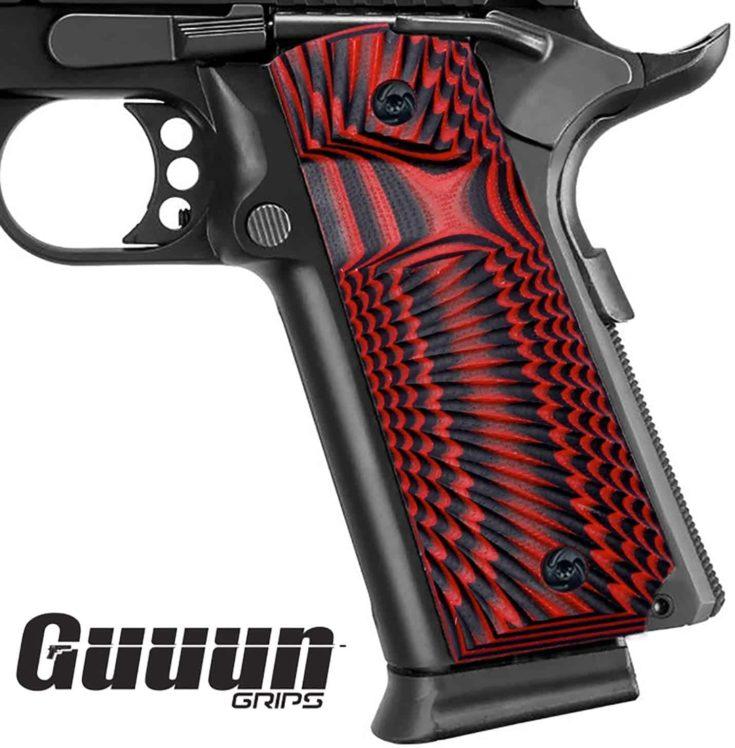 Guuun 1911 Grips G10 Full Size 1911 Grip Ambi Safety Cut Big Scoop Sunburst Texture